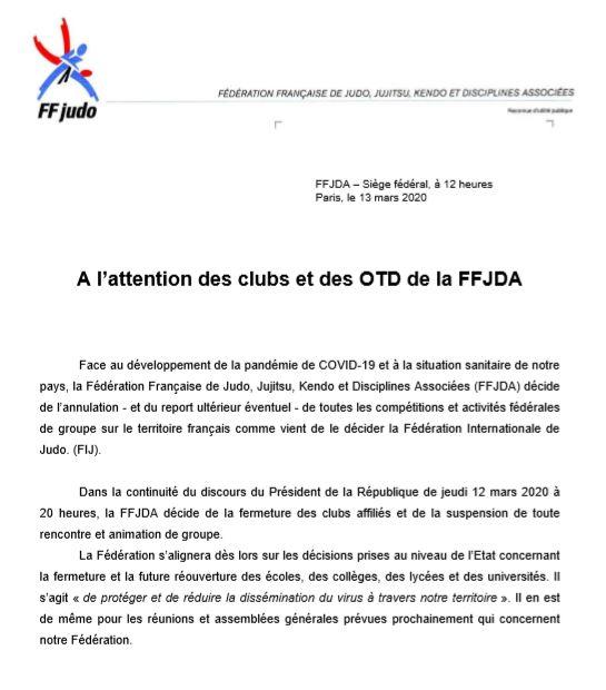 Clubs et OTD FFJDA Epidémie